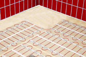 underfloor heating mats laid out