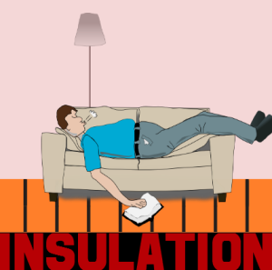 man asleep on sofa above underfloor insulation